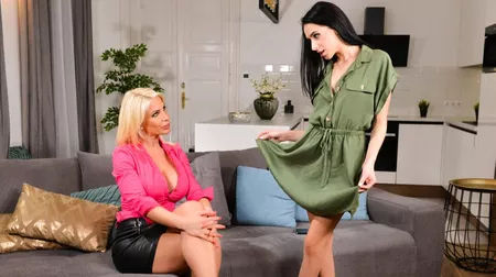 Busty MILF seduces younger girl on the Adult Time Roku Channel